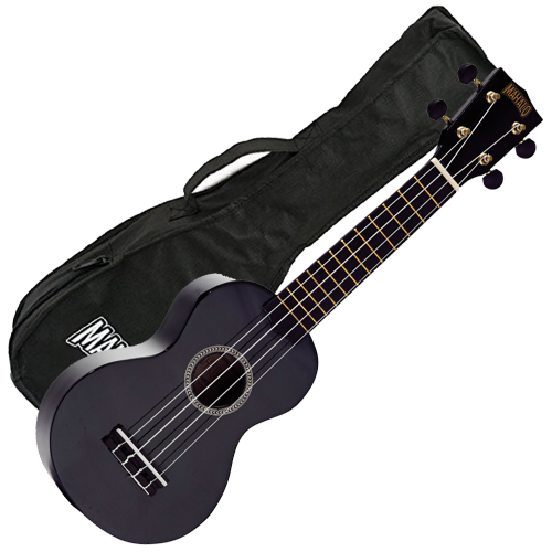 Mahalo Ukulele in Black Rainbow Series Soprano Ukulele MR1BK